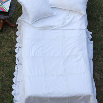 Bequot Home White Bed Cover in Patchwork Design - Handmade Crochet - Decorative Bed- Wedding Decor and gifts