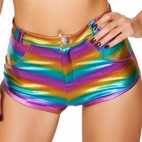 Rainbow High-Waisted Button Booty Shorts