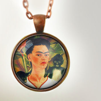 Frida : Glass Dome Necklace, Pendant or Keychain Key Ring. Gift Present metal round art photo jewelry HomeStudio. Silver Copper Bronze