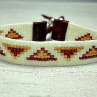 Triangle Bead Loom Bracelet - Adjustable Loom Bracelet - Indian Loom Bracelet