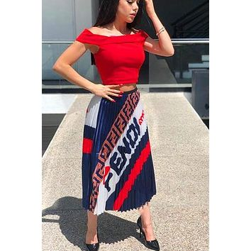 Fendi Fashion New Letter Print Contrast Color Skirt Leisure Women Navy Blue
