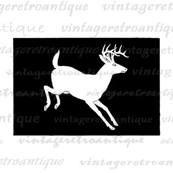 Deer Silhouette Image Graphic Printable Animal Illustration Digital Download Vintage Clip Art Jpg Png Eps  HQ 300dpi No.3348