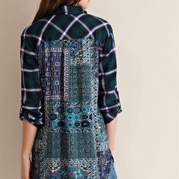 Printed Back Plaid Blouse - Green