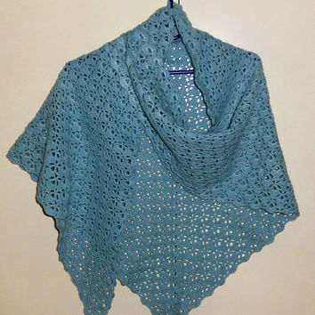 Crochet Shawl Light Blue Lacy Triangular Scarf FREE SHIPPING Niatta