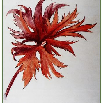 Study of an Orange and Purple Leaf Spray by John Ruskin Counted Cross Stitch Pattern