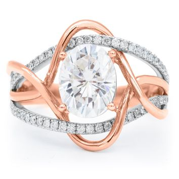 Atom 9x7mm Oval Moissanite 14K Two-Tone Rose and White Gold Weave Diamond Accent Ring