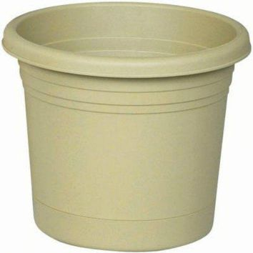 "Southern Patio RR0624OG Rolled Rim Planter w/ Attached Saucer, 6"", Olive Green"