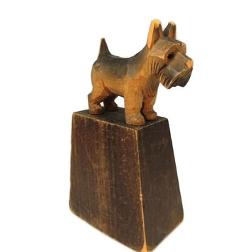 Folk Art Scottish Terrier Paperweight Scotty Dog