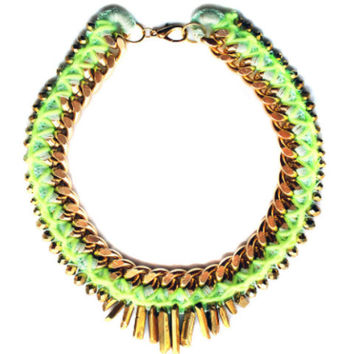 Chunky Gold Chain Raw Crystals Collar Statement Necklace