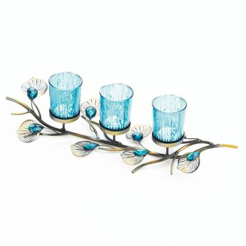 Iron Peacock Inspired Candle Holder Trio