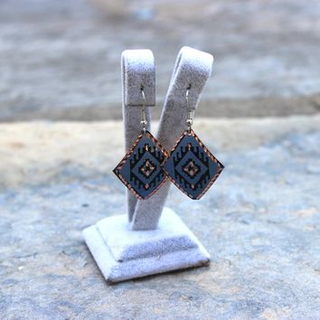 Dark Blue Boho&Hippie Earrings with Anatolian Patterns, Ethnic Turkish Jewelry, Oriental, Authentic, Handmade, Copper, Ottoman, Everyday