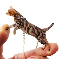 Brown Striped Kitty Cat Jumping in Mid Air Shaped Pendant Necklace   Handmade
