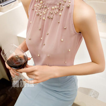 Sleeveless Turtleneck with Pearl Beads Chiffon Blouse