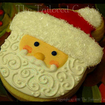 Decorated Santa Cookie, Red, Ivory, White, Edible Glitter and Sugar Sprinkles by The Tailored Cookie