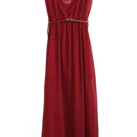 Wine Red Sleeveless Belted A-Line Maxi Dress