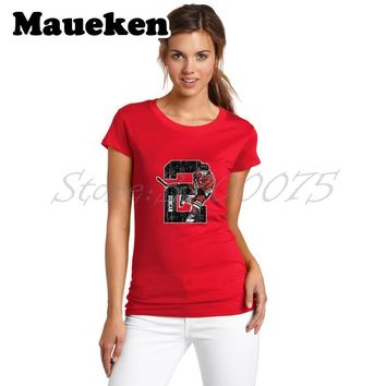 Women Chicago 2 Duncan Keith T-Shirt Lady Clothes Sketch Blackhawks T Shirt Short Sleeve Girl W0228022