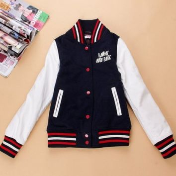 Hello Kitty Navy White Leather Varsity Jackets : Varsity Letterman Jackets,Varsity Jackets For Girls Online Store!
