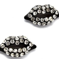 "Cute Sparkling Jet Black with Clear Crystal Embellished Lips Stud 3/4"" Stud Earrings for Teens and Women"
