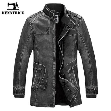 New Long Detective Style Leather Coats Men Basic Coats Leather Jackets Trench Coat Sheepskin Coat