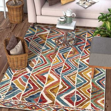 7045 Multi Color Abstract Contemporary Area Rugs