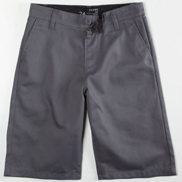 Blue Crown Boys Chino Shorts Gunmetal  In Sizes