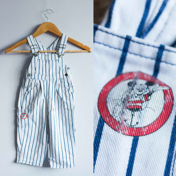Mickey Mouse overalls, vintage children's overalls, kids dungarees, 100% cotton, babies railroad overalls, mouse gear, striped overalls