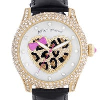 Betsey Johnson Heart Dial Pavé Crystal Watch | Nordstrom