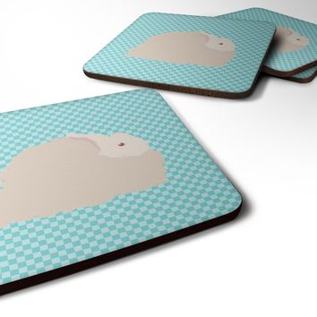 Fluffy Angora Rabbit Blue Check Foam Coaster Set of 4 BB8133FC