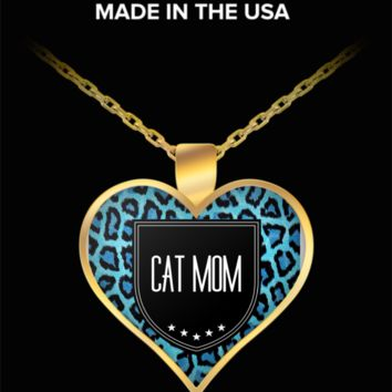 Cat Mom Necklace - Proud Cat Mom - Heart Shaped Gold Plated Cat Mom Jewelry Pendant Chain Fits All - World's Best Cat Mom - Funny Gifts For Cat Lover Wife Husband Mom Dad Mother's Father's Day Women Men Christmas New Years Day Party Valentine's Day
