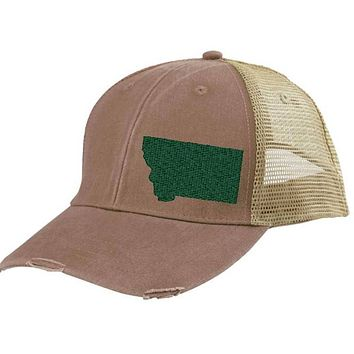 Montana Hat - Distressed Snapback Trucker Hat - off-center state pride hat - Pick your colors