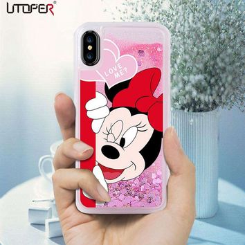 UTOPER Mickey Coque For Iphone X Case Silicone Liquid Luxury Mouse Phone Case For Iphone 5 6 6S 7 7 8 Plus Case For  Iphone 8 7