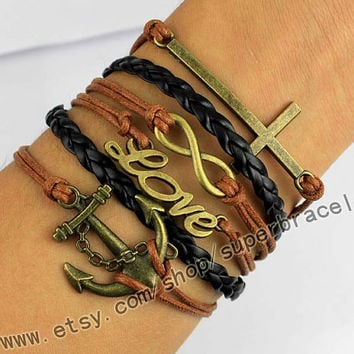 Anchor, LOVE, infinity, the cross bracelet, Antique bronze bracelet, combination bracelet, retro style bracelet, men leather bracelet.