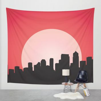 Urban Sunset Wall Tapestry by Texnotropio | Society6