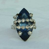 Large Blue Glass Navette Rhinestone Cocktail Ring Adjustable Vintage Jewelry