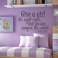 Childrens Decor Wall Decal - Childrens Wall Decals - Baby Girl or Boy Nursery Wall Art - Give a girl the right shoes - Marilyn Monroe