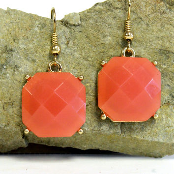 Octagon Earrings, Deep Coral