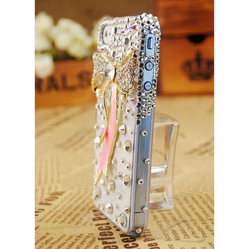 FREE SHIPPING Apple iPhone 5 4S 4G 3GS Stylish Bow Artificial Rhinestone Swarovski Crystal Girly Best Clear Transparent Case