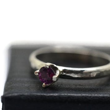Tiny Garnet Ring, Simple Engagement Ring, Rhodolite Garnet Ring, 3mm Gemstone Ring, Minimalist Promise Ring