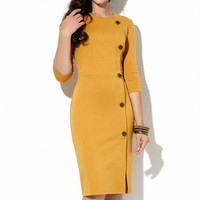 Mustard Office dress Autumn Spring Jersey dress Business woman clothes Casual clothing for women