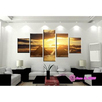 Unframed 5 Pieces Canvas Wall Art Picture Painting Decoration Home Canvas Prints The Most Mysterious Tomb - Egyptian Pyramids