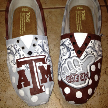 Texas A&M University  hand painted TOMS