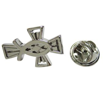 Silver Toned Religious Ichthys Fish and Cross Lapel Pin