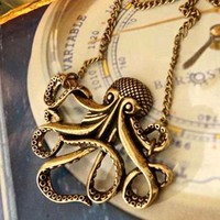 Vintage Octopus Bronze Necklace | christinepurr - Jewelry on ArtFire