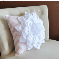 MOTHERS DAY SALE White Flower Pillow Light Pink Chevron Pillow BedRoom Decor Decorative pillow Nursery Decor