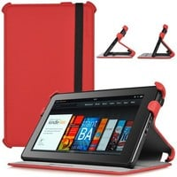 CaseCrown Ace Flip Case for Amazon Kindle Fire Blazing Red
