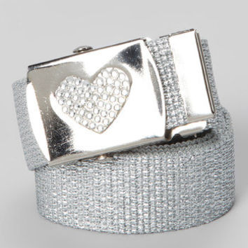 GIRLS Silver metallic Rhinestone heart buckle belt - can come on any color belt strap