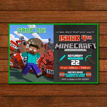 Minecraft Game On TNT Invitation