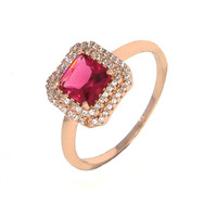 Dear Deer Rose Gold Plated Classic Ruby Red Square Cubic Zirconia Cocktail Ring