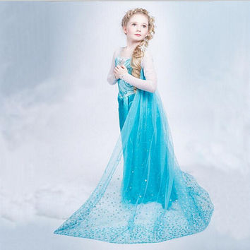 2016 Summer New Children Dresses For Girls Elsa Dress Princess Anna Elsa Cosplay Costume Baby Kids