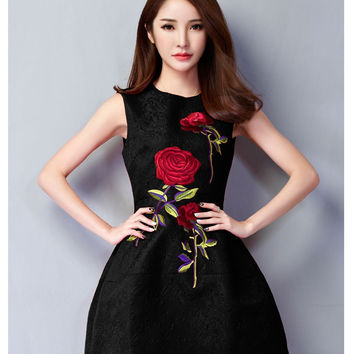 Elegant Rose Embroidered Dress